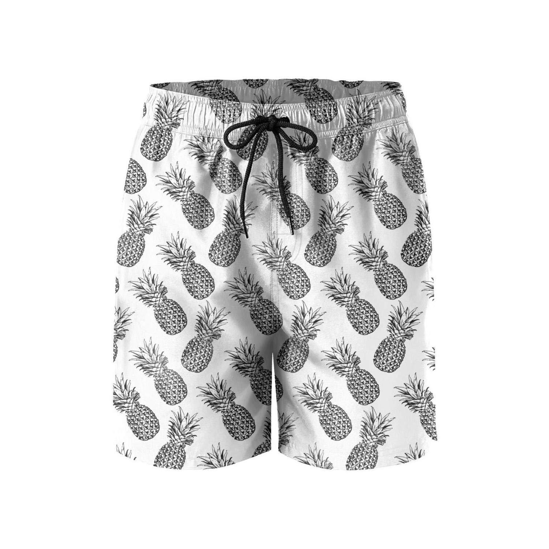 Gold Pineapple Print Art Young Men Boardshorts Swimsuits Bermuda Board Shorts