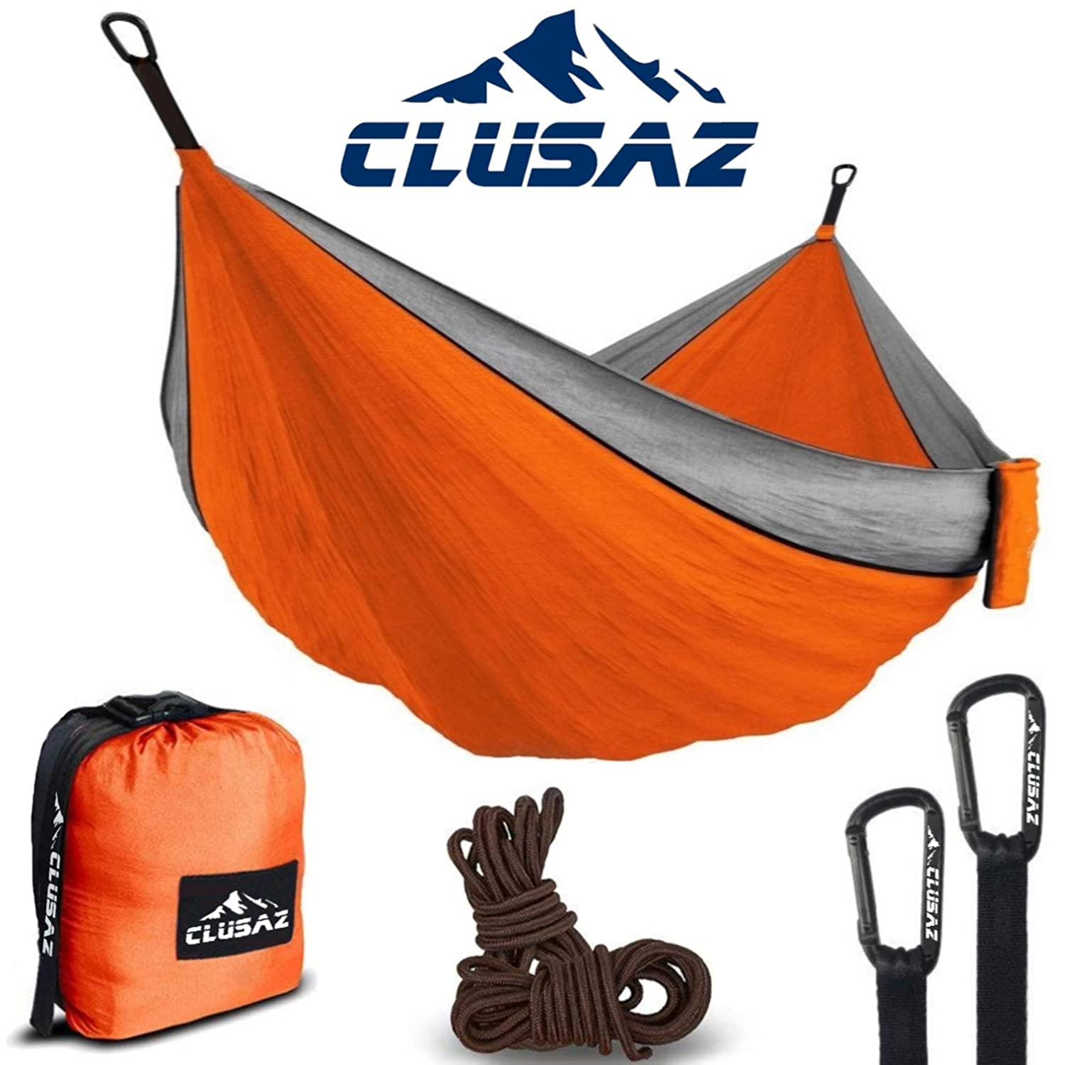 CLUSAZ Premium Hammock Parachute Ultra Lightweight 1.2 lbs in Diamond Nylon Anti-Tearing for 1 Person - includes 2 Anti-Scratch Carabiners and 2 Ropes 10 feet - 10 Years WARRANTY