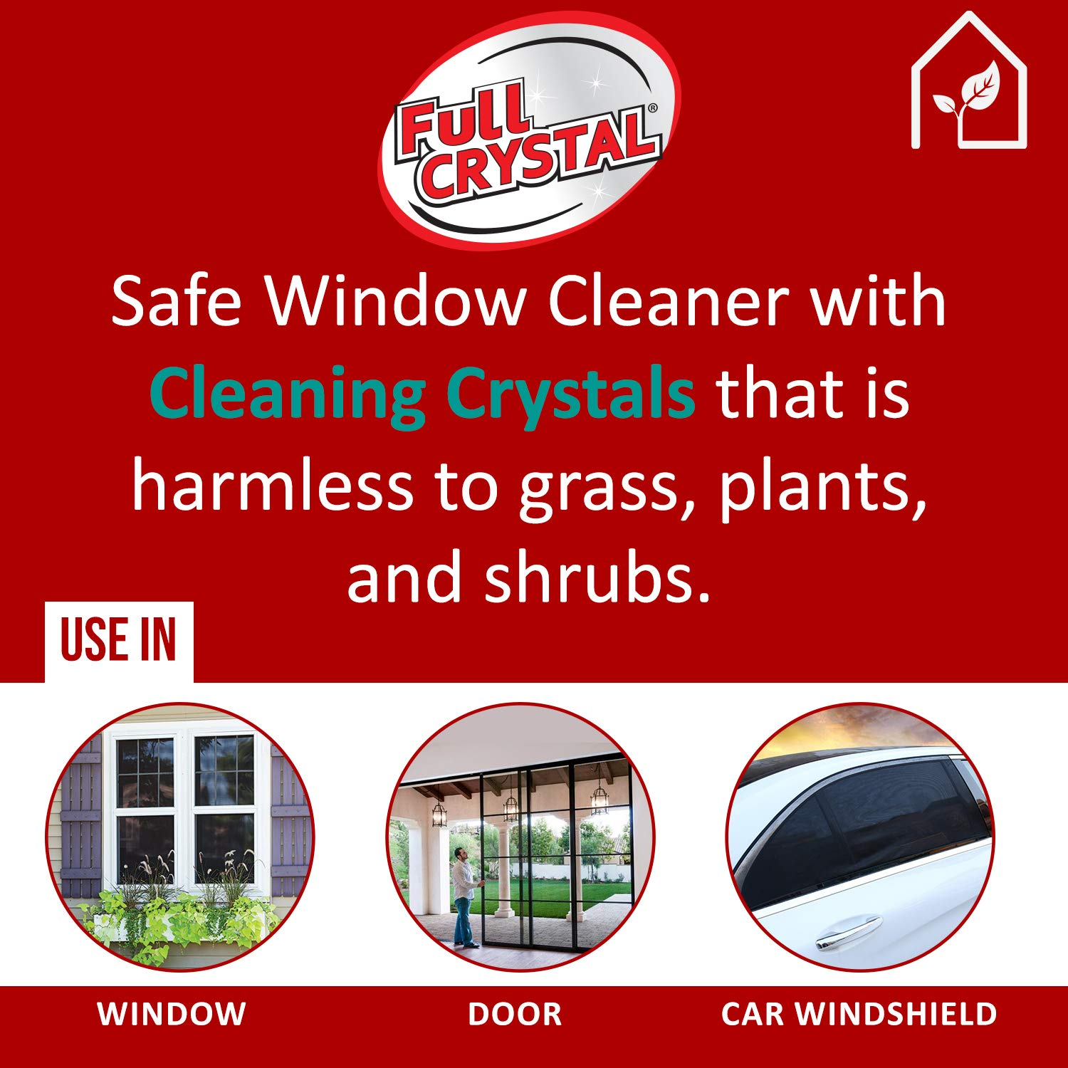 Full Crystal Kit - Bottle, Lid with Hose Attachment, and Two 4 oz. Crystal Powder Exterior Window Cleaner Packets for Glass and Screens (Cleans Up to 40 Windows) by Full Crystal (Image #4)