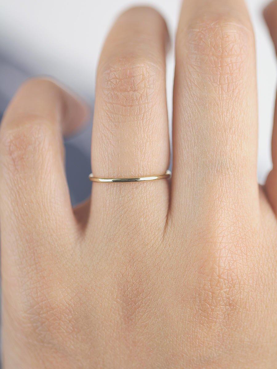 Handmade Full Round Wedding Band, 14K Solid Gold 1mm Band, Minimalist Ring, 14K Solid Gold Wedding Ring, Gold Ring, Gold Band, Simple Band, Simple Ring, Thin Band