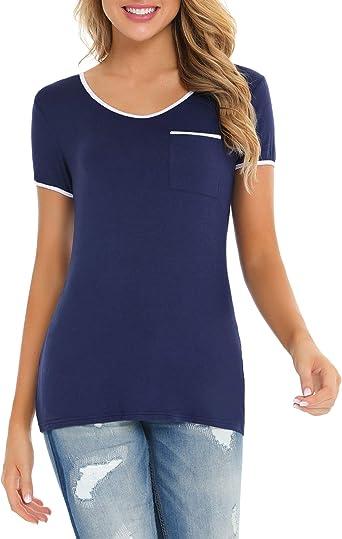 Akalnny Camiseta de Manga Corta para Mujer T-Shirt Cuello V Blusa Camisa Basica tee Bolsillo Verano Tops Casual: Amazon.es: Ropa y accesorios