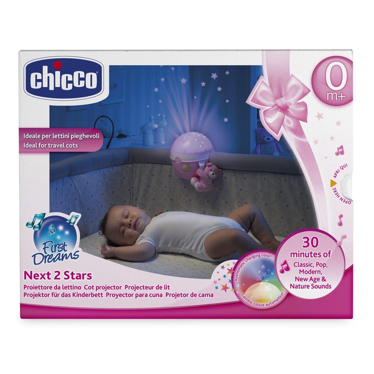 Chicco Next2Stars - Proyector con efecto de luces, estrellas y melodías para cunas y mesilla, color rosa: Amazon.es: Juguetes y juegos