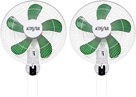 "2pk 18/"" Wall Mount Oscillating Hydroponic Fan for Air Circulation Cooling"