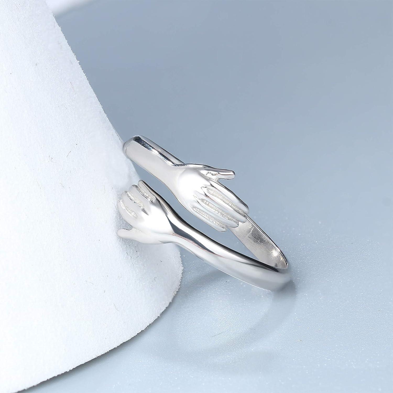 einstellbare Ringgr/ö/ße Silber Romantische Umarmung H/ände Umfassen offenen Ring f/ür Frauen M/änner Paar Schmuck Adramata 925 Sterling Silber Ring f/ür Frauen