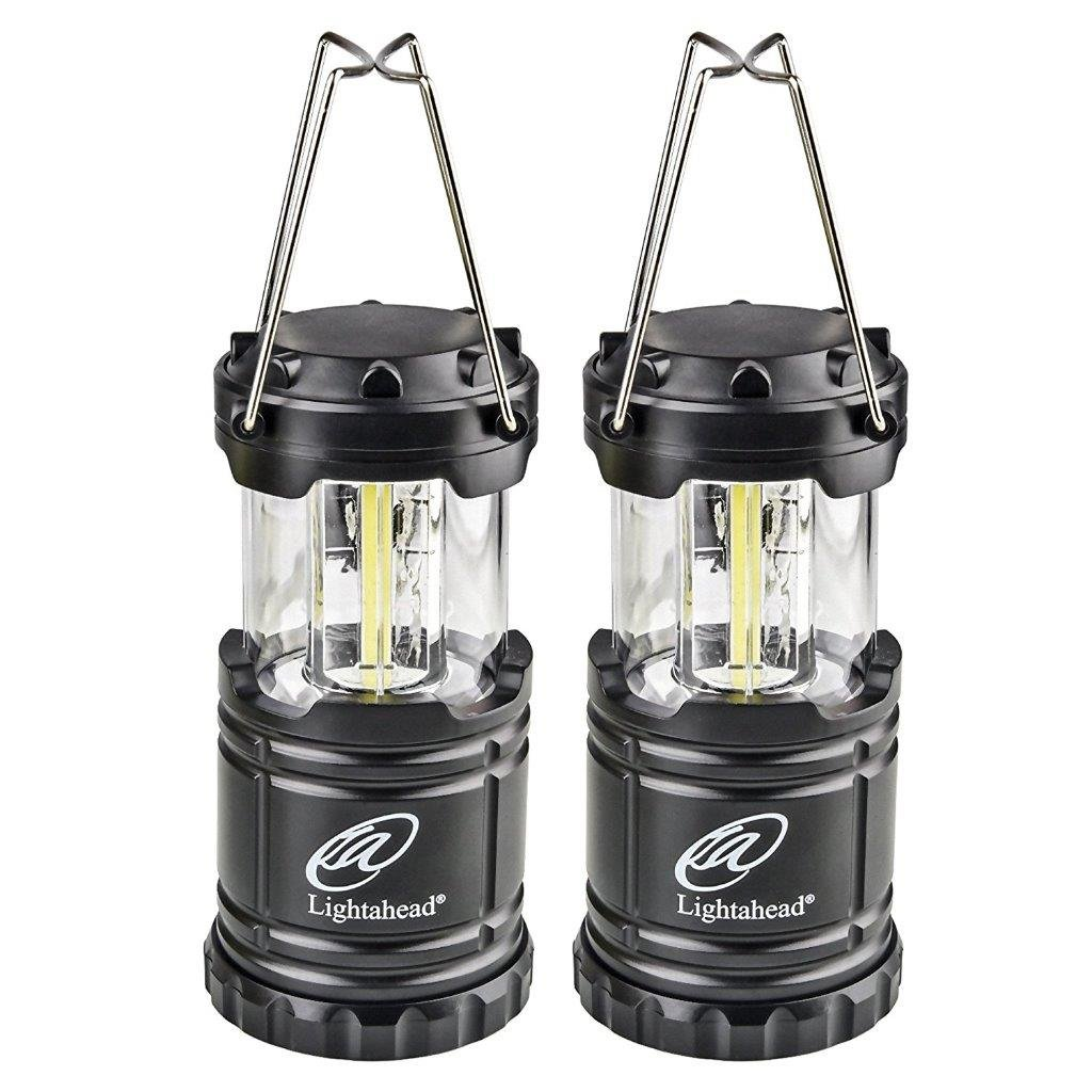 Lightahead Set of 2 Portable Outdoor LED Camping Lantern Equipment with Battery - Great for Emergency, Tent Light, Backpacking (Black)