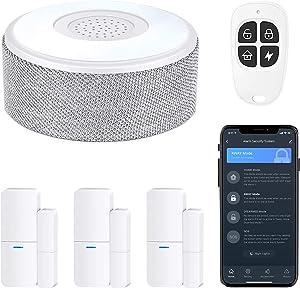WiFi Door Alarm System, Wireless DIY Smart Home Security System, with Phone APP Alert, 5 Pieces-Kit (Alarm Siren, Door Window Sensor, Remote), Work with Alexa, for House, Apartment, by tolviviov