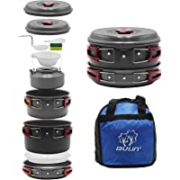 Bulin 27/13/11/8/3 PCS Camping Cookware Mess Kit, Nonstick Lightweight Backpacking Cooking Set, Outdoor Cook Gear for…