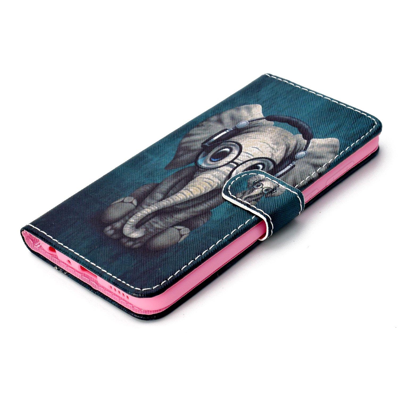 Elefant Kopfh/örer ISAKEN Huawei P Smart H/ülle PU Leder Flip Cover Brieftasche Geldb/örse Wallet Case Ledertasche Handyh/ülle Tasche Schutzh/ülle Etui mit Standfunktion f/ür Huawei P Smart