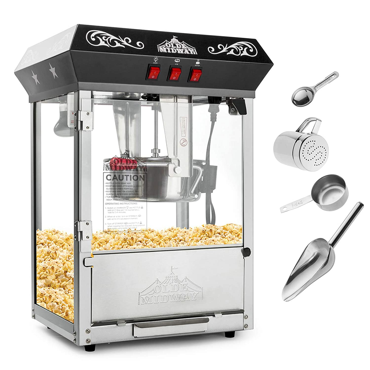 Olde Midway Bar Style Popcorn Machine Maker Popper with 8-Ounce Kettle – Black