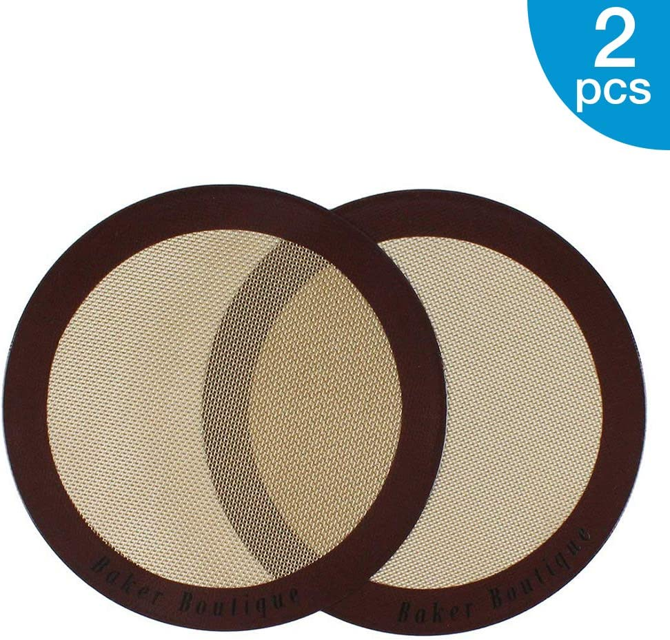 "Silicone Baking Mats, 2-Pack Non-stick Silicone Baking Sheet Liner, Reusable Heat Resistant Baking Pastry Sheets for Bake Pans/Rolling/ Macaron/Cookie (Round 9"", Brown)"