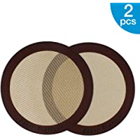 """Silicone Baking Mats, 2-Pack Non-Stick Silicone Baking Sheet Liner, Reusable Heat Resistant Baking Pastry Sheets for Bake Pans/Rolling/Macaron/Cookie (Round 9"""", Brown)"""