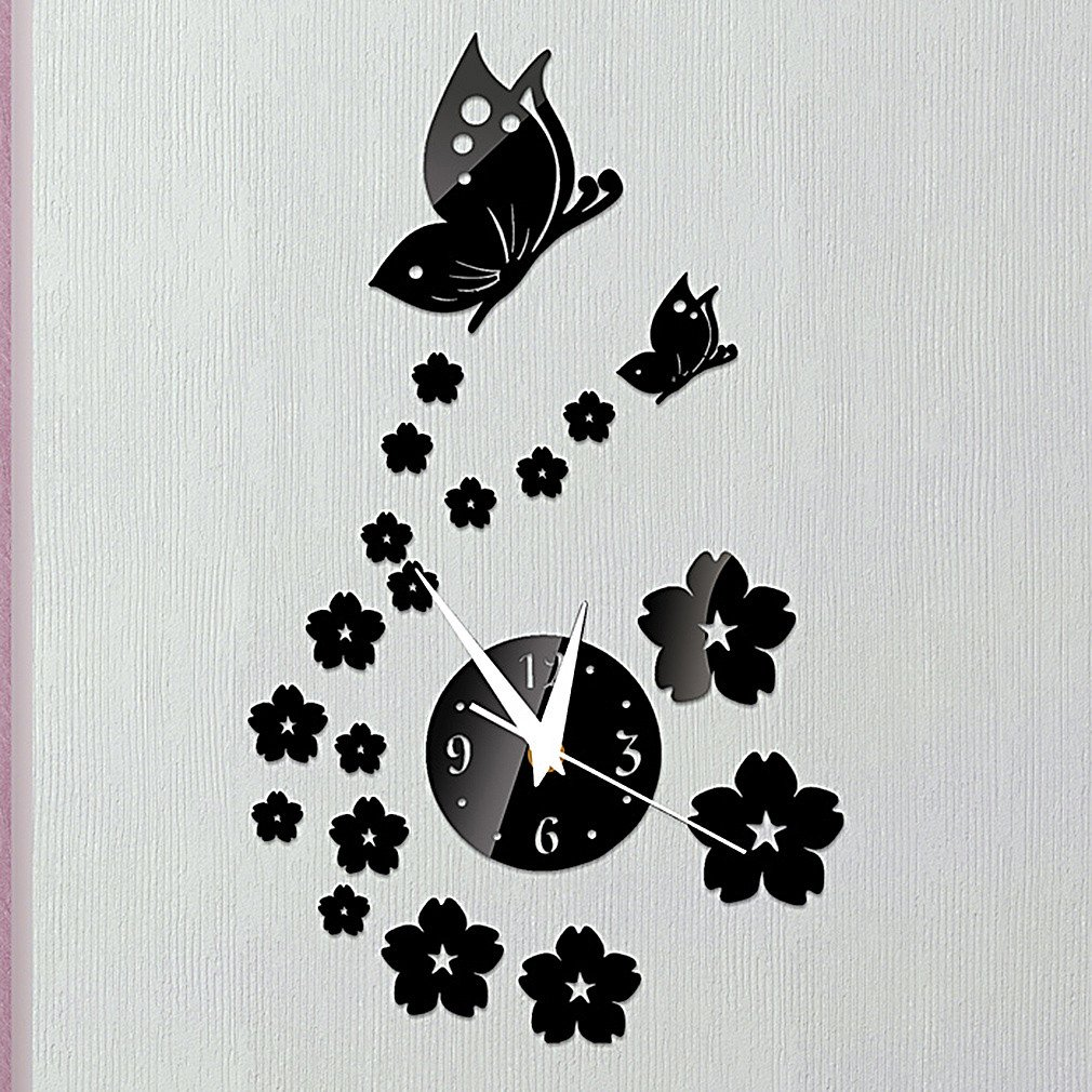Amazon.com: DIY - Do It Yourself New Wall Mirror Clock Made of Acrylic Material Like Mirror, Butterflies and Flowers, Modern Design for Home Living Room ...