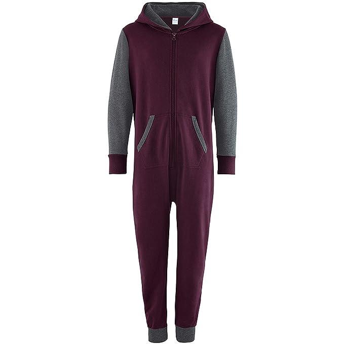 Comfy Co Pijama de una pieza - para niña rojo Burgundy/Charcoal 3-4