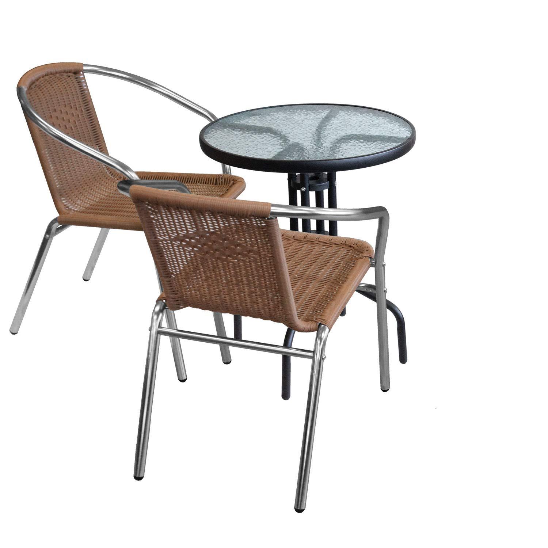 Wohaga 3tlg. Sitzgruppe Glastisch Ø60cm rund + 2X Aluminium Stapelstuhl Poly-Rattanbespannung Silber/Natur Bistrostuhl