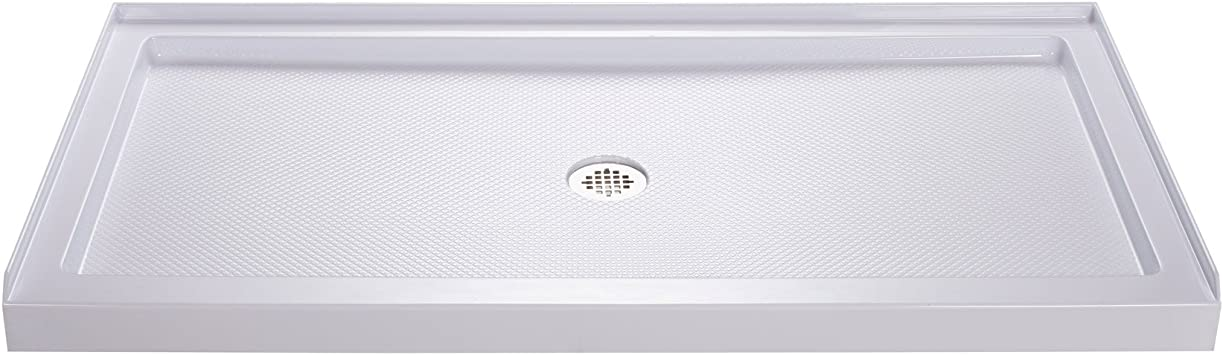 Dreamline Slimline 34 In D X 60 In W X 2 3 4 In H Center Drain Single Threshold Shower Base In White Dlt 1134600 Dreamline Shower Pan Amazon Com