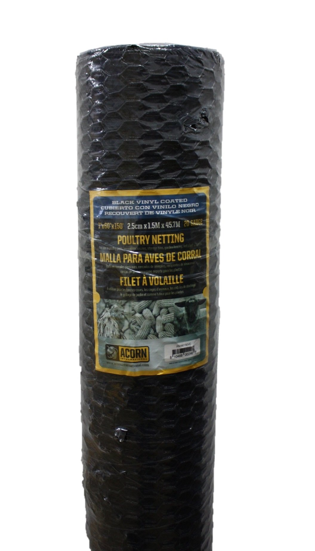 Acorn International PNVC160150 Vinyl Coated Poultry Netting, 1'' x 60'' x 150'