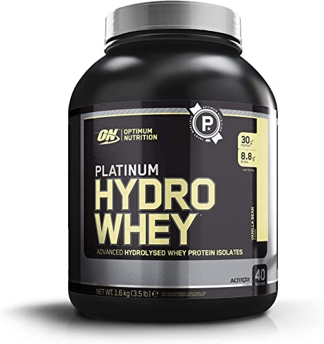 Optimum Nutrition Platinum Hydrowhey Protein Powder, 100 Hydrolyzed Whey Protein Isolate Powder, Flavor Velocity Vanilla, 3.5 Pounds