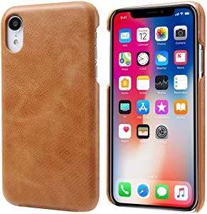iPhone Xr Leather Case, Reginn Wireless Charging Compatible Phone Bumper, Slim Fit Genuine Leather Case for iPhone Xr (Brown)