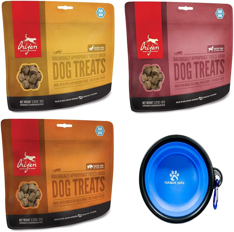 Orijen Freeze Dried Dog Treats 3 Pack Combo Bundle- Made in USA (3.25 oz Per Bag) with Hotspot Pets Collapsible Travel Bowl