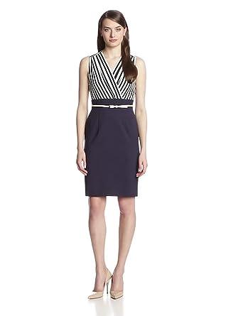 Calvin Klein Women's Sleeveless Dress with Belt, Indigo/Cream, 12