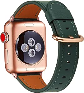 Compatible with iWatch Band 38mm 40mm, Top Grain Leather Band Replacement Strap for iWatch Series 6/5/ 4/ 3/ 2/ 1,SE,Edition (Olive-Green+Rose Gold Buckle, 38mm40mm)