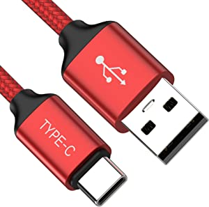 USB Type C Cable,3FT 2PACK,USB-C Charging Cord Fast Charging Compatible Samsung Galaxy Note 9 8 S10 S9 S8 Plus,Google Pixel 2 XL,LG G7 V35 ThinQ,V30,Moto Z3 G6 X4,ZTE Blade Z Max X,OnePlus 6 5T(Red)