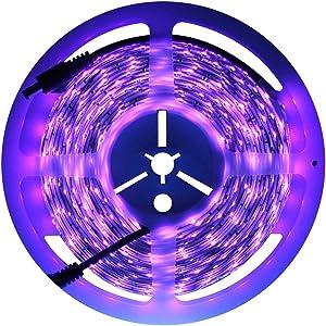 Exulight UV Blacklights LED Light Strip 5M/16.4ft 3528SMD Waterproof 300LED with 12V 2A Power Supply