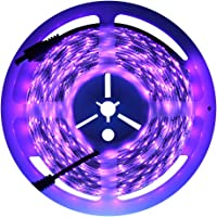 exulight UV blacklights tira de luces LED 5m/5m 3528SMD 300LED impermeable con 12V 2A Fuente de alimentación (púrpura)