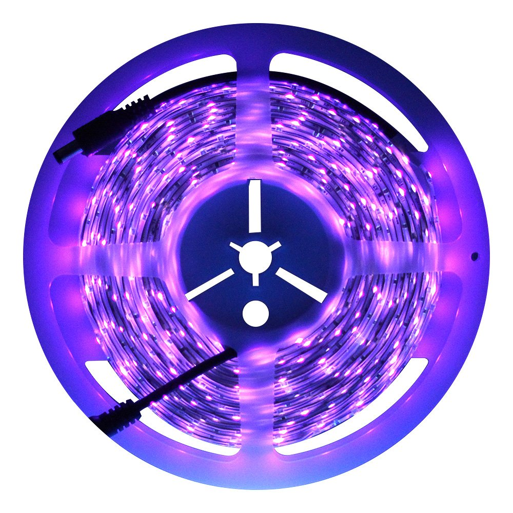 Exulight UV Blacklights LED Light Strip 5M/16.4ft 3528SMD Waterproof 300LED with 12V 2A Power Supply (Purple)