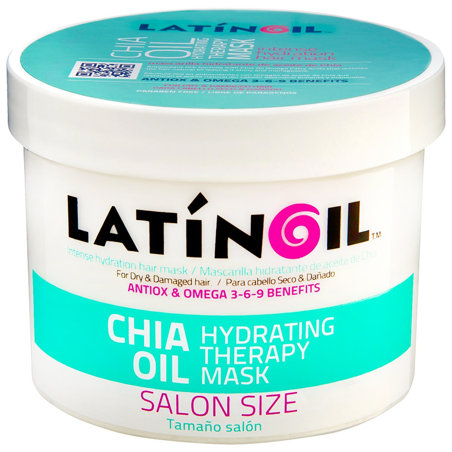 LATINOIL Chia Oil Hair Mask Treatment for Dry Damaged Hair - Deep Conditioner Anti Frizz Hydrating Moisturizer - for Low Porosity, Curly, Color Treated, Split End Hair Repair Masque for Women 8.5 Oz Mask250