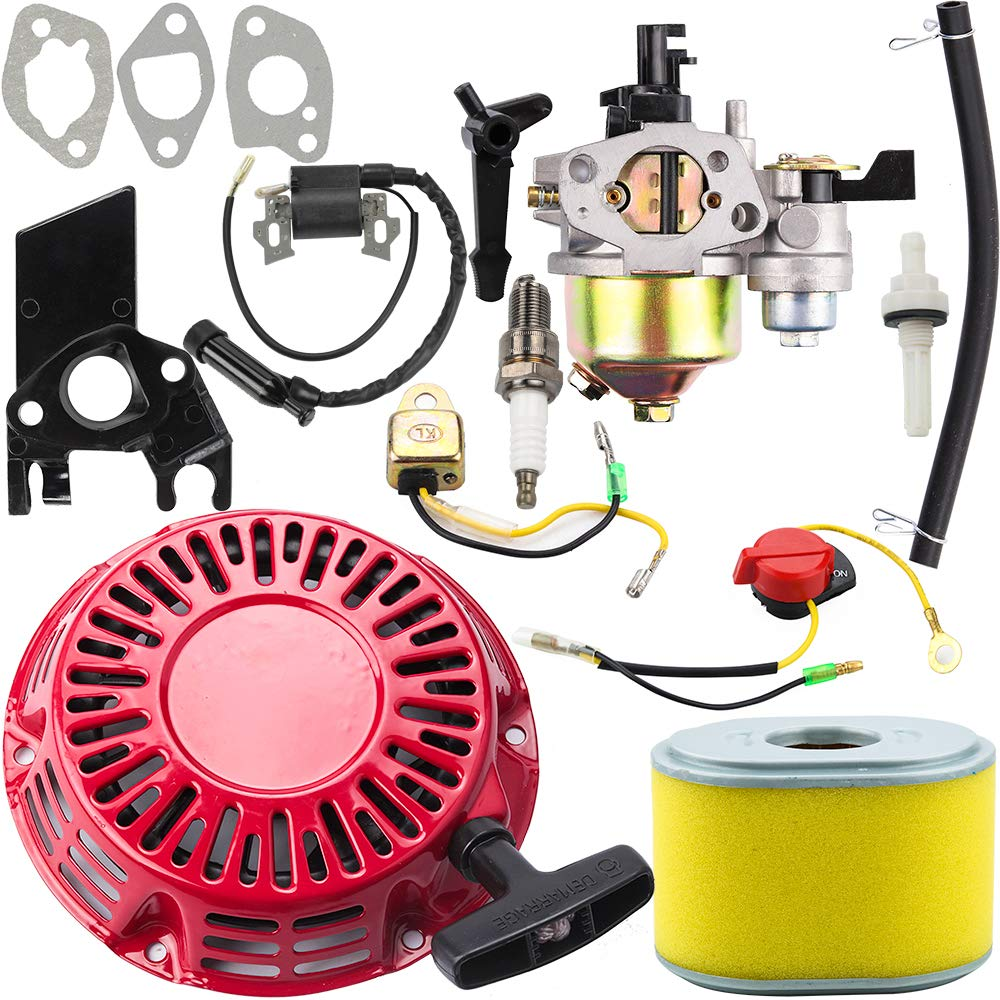 Dalom GX160 Carburetor + Recoil Starter + Ignition Coil + Air Filter Tune Up Kit for Honda GX140 GX 160 GX168 GX200 5HP 5.5HP 6.5HP Engine