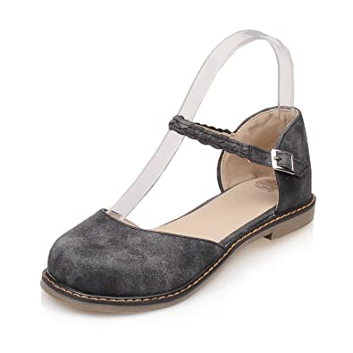 d782c42965e Odetina Black Women s Comfy Round Toe Mary Jane Ankle Strap Walking Flats  Shoes Size 10 (