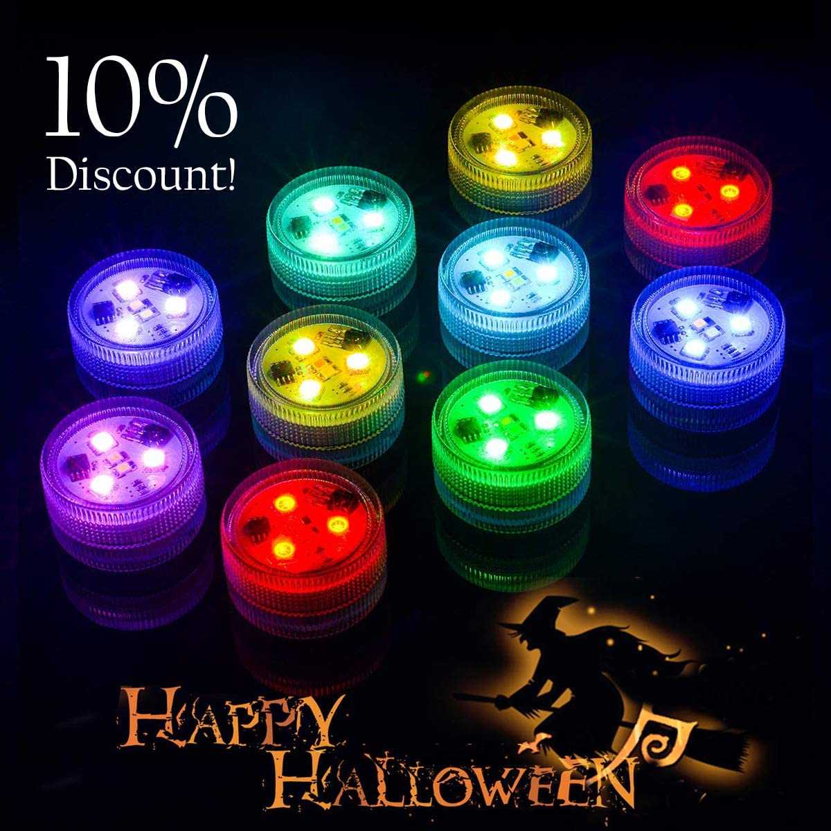 Homemory 10pcs Submersible LED Lights with Remote, Waterproof, Battery Operated Color Changing LED Vase Light