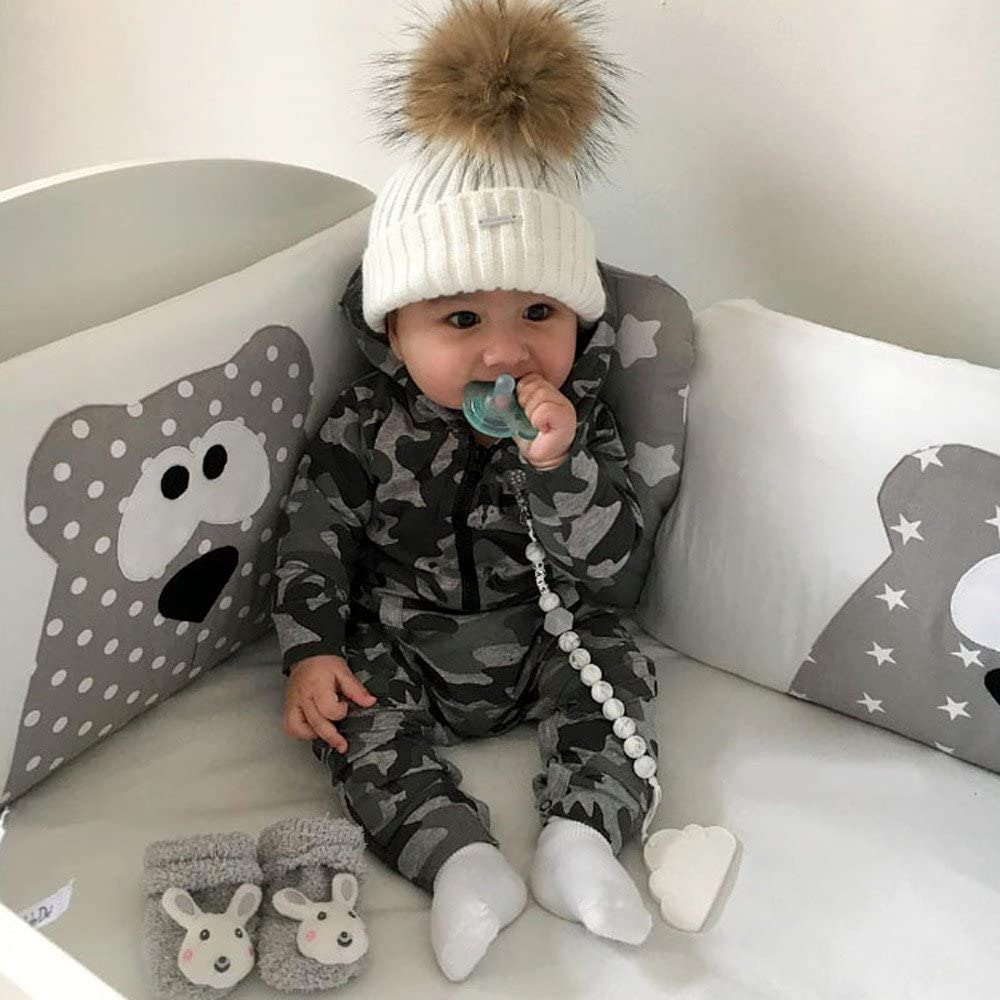 H.eternal Baby Boys Romper Jumpsuit Cotton One-Piece Zip up Coverall Hooded Footless Sleepsuit with Pocket Long-Sleeve Camo Bodysuit Outfit Leggings