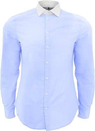 SOLS - Camisa Formal de Popelina Contraste mangaalrga Mdoelo Belmont Hombre Caballero: Amazon.es: Ropa y accesorios