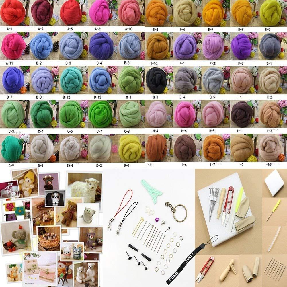 HeroNeo® 50COLOR Wool Fibre Needle Felting + Felting Needles Starter Kits Mat Tools