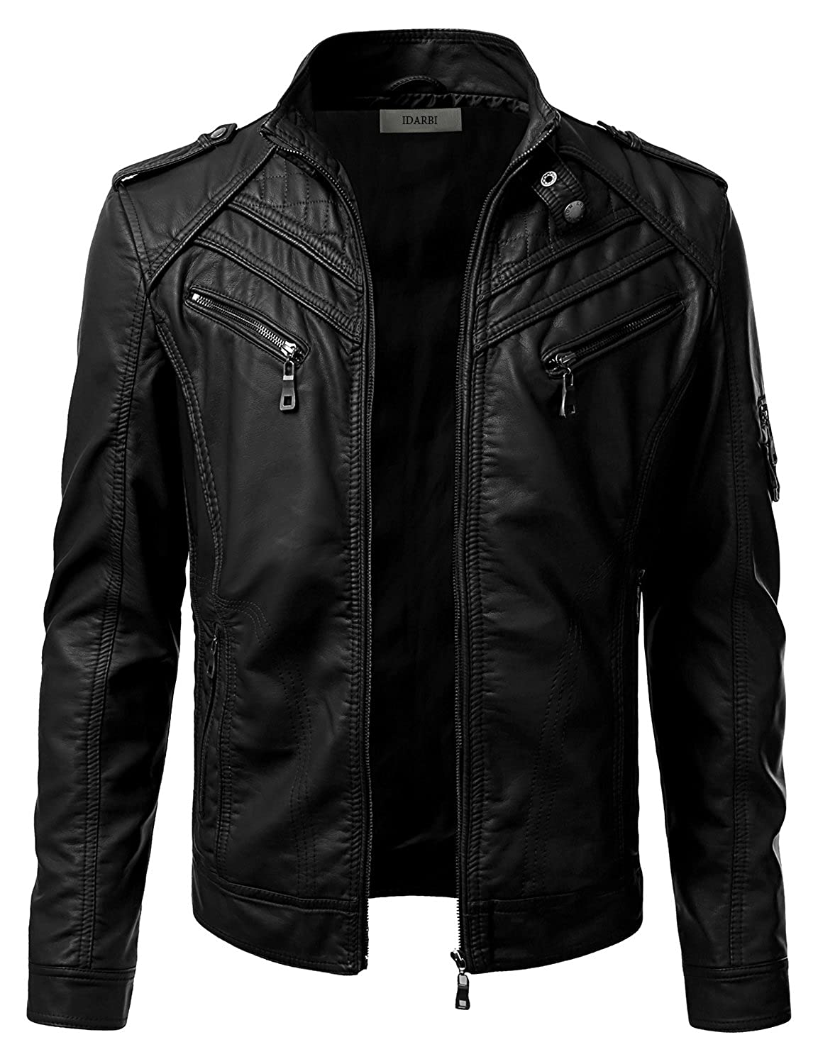 IDARBI Mens Long Sleeve Premium Stand Collar Zip Up Faux Leather Jacket