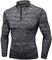 Luxsea Men's Compression Sweatshirt Baselayer Sport Training T-Shirt Long Sleeve Quick Dry Cashmere Tops