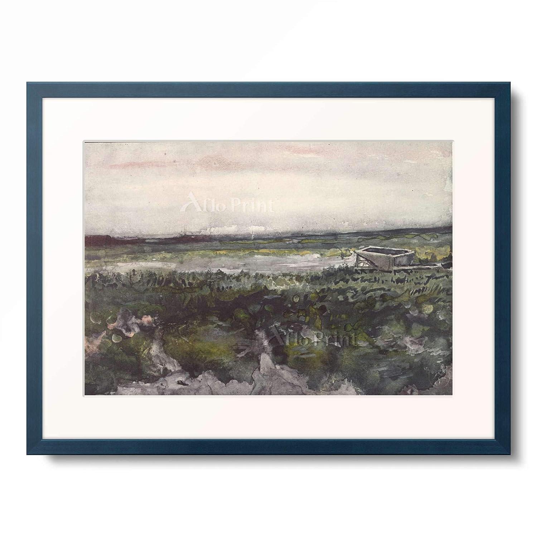 フィンセントファンゴッホ Vincent Willem van Gogh 「Heath with wheelbarrows」 額装アート作品 B07PDBWSRB 10.木製額 13mm(青) L(額内寸 509mm×394mm) L(額内寸 509mm×394mm)|10.木製額 13mm(青)