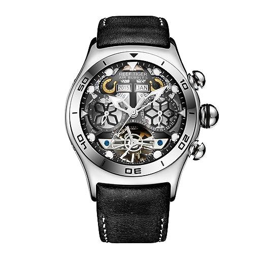 REEF TIGER Reloj Analógico Automático para Hombre con Correa en Cuero RGA703-YBB: Amazon.es: Relojes