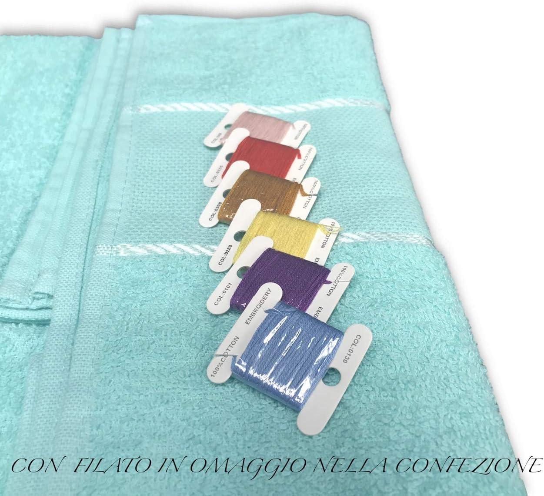 tex family Set Asciugamani Spugna Tela Aida da RICAMARE Punto Croce 1+1 Viso E OSPITE con Filato in Omaggio Azzurro