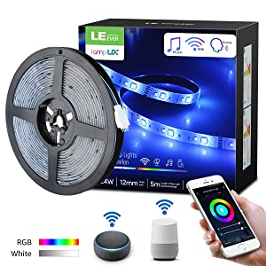 LE LampUX WiFi Smart LED Strip Lights Works with Alexa Google Home, Bright Daylight and RGB Color Changing, Waterproof, 16.4ft 5050 LED Rope Light, 12V Flexible Tape Light Under Cabinet Strip Lighting