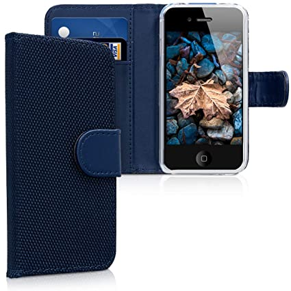 kwmobile Apple iPhone 4 / 4S Hülle - Nylon Handyhülle Wallet Handy Case für Apple iPhone 4 / 4S mit Standfunktion