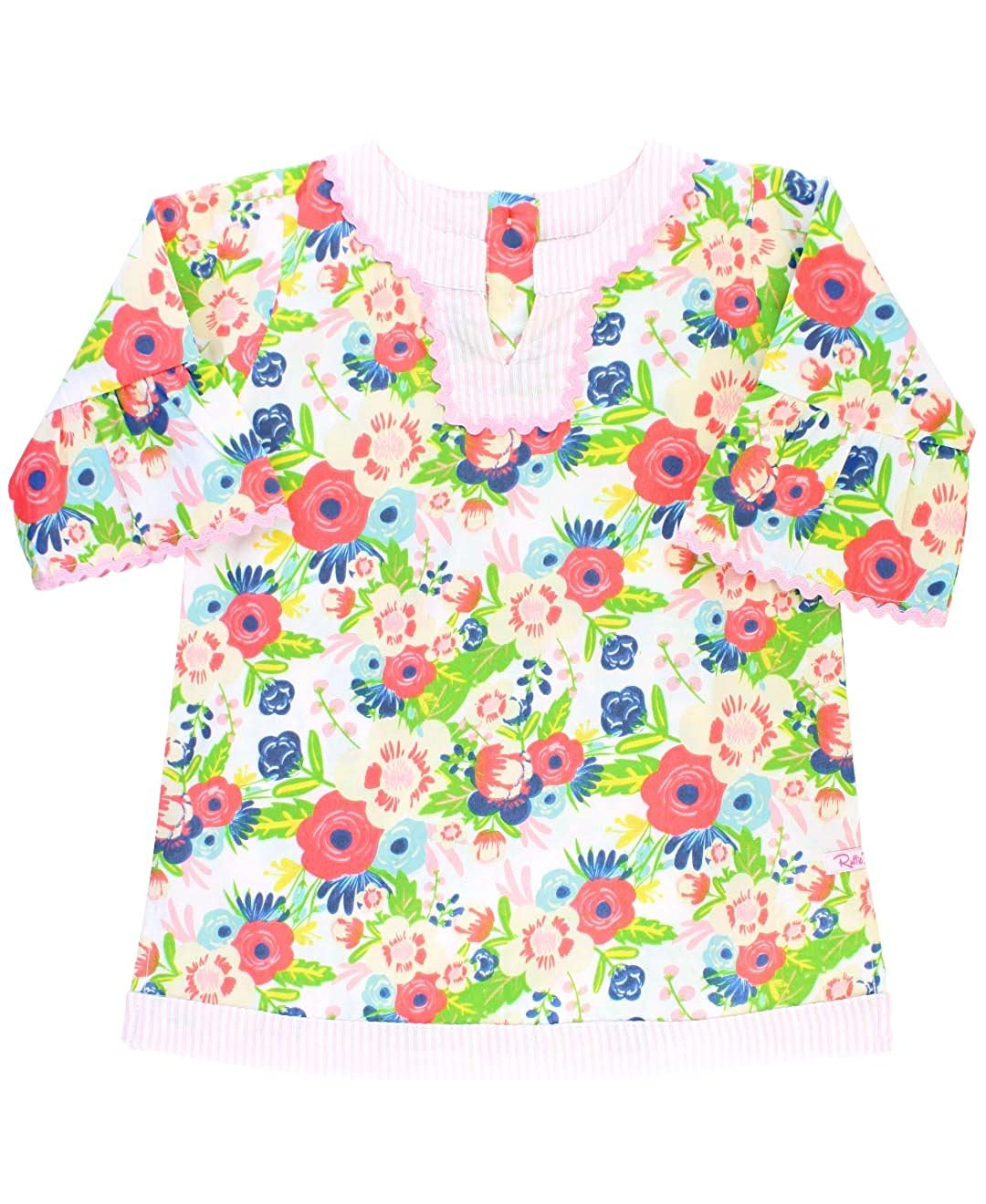 RuffleButts Little Girls Vintage Floral w/Seersucker Tunic Swimsuit Cover-Up CUWWHXX-EGSS-TDLR