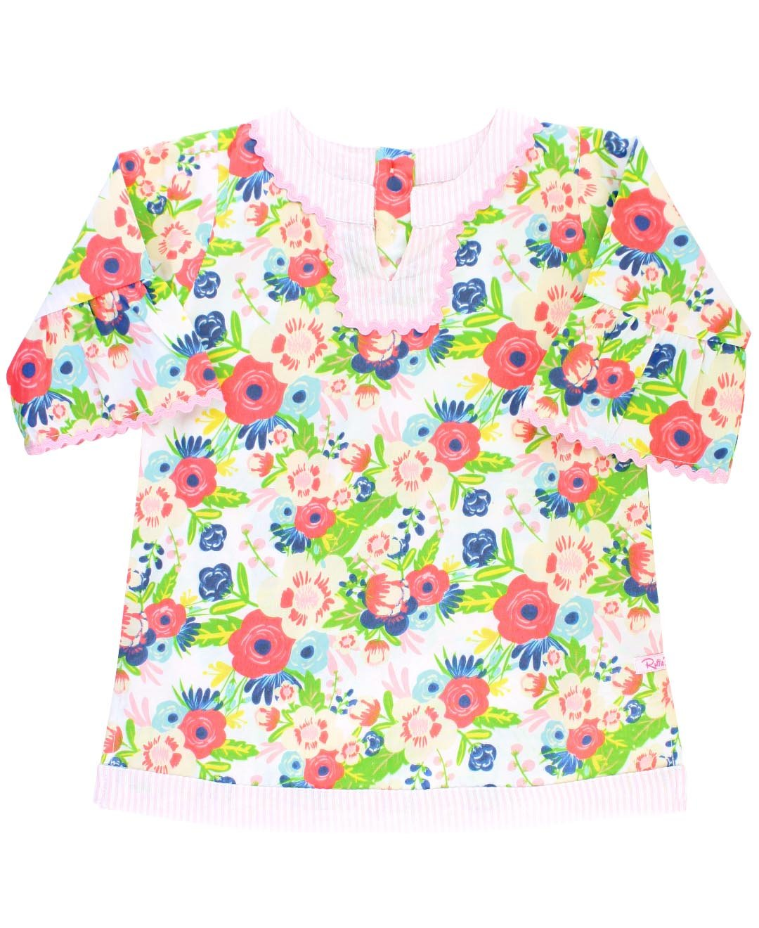 RuffleButts Little Girls Vintage Floral w/Seersucker Tunic Swimsuit Cover-Up - 3T