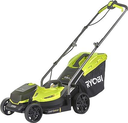 Ryobi - Cortacésped inalámbrico (ancho de corte 33 cm, altura de corte ajustable, con saco de 35 l, con batería y cargador) RLM18C33B25