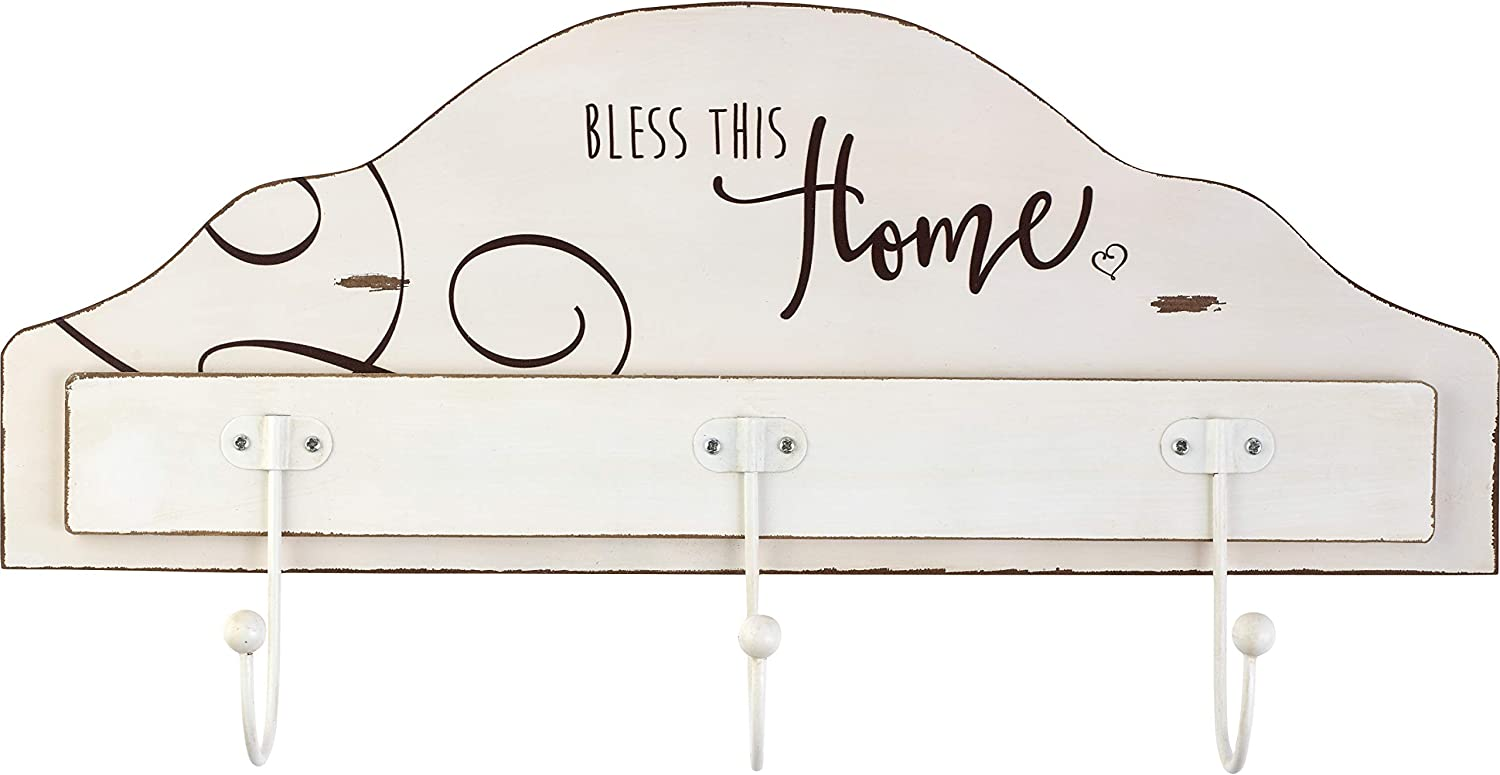Precious Moments Farmhouse Decor Bless This Home And All Who Enter Wood/Metal Wall Plaque With Three Hooks 189917