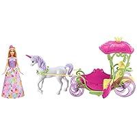 Barbie Dreamtopia coffret poupée princesse Bonbons et sa calèche rose et verte, avec licorne blanche à crinière violette, jouet pour enfant, DYX31