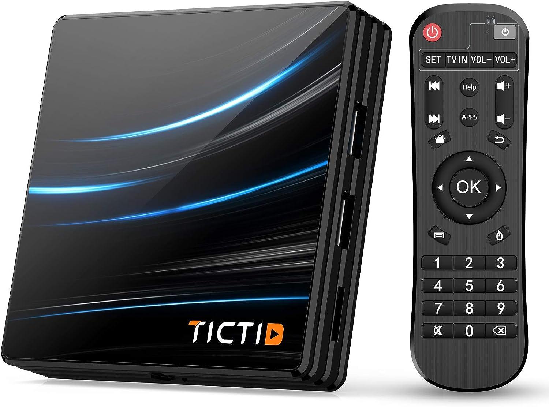 TICTID Android 10.0 TV Box D1 Pro【4G+64G】 RK3318 Quad-Core 64bit WiFi-Dual 5G/2.4G,BT 4.0, 4K*2K UDR H.265, USB 3.0 Smart TV Box