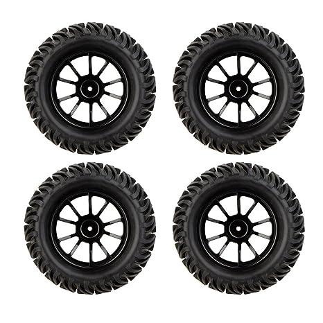MagiDeal 4Pcs 1/10 Negro RC Neumáticos y Las Ruedas para HSP HPI Escala de